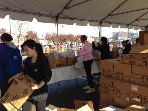 Volunteers distributing food in Coney Island