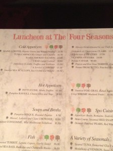 """Power"" lunch menu at the Four Seasons"