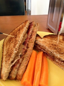 My PB&J Club with maple syrup PB on one side and cinnamon PB on the other