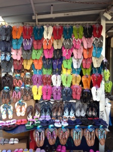 Thongs on display at the Carmel Market